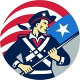 La tenencia americana del patriota blande el círculo de la bandera de los E.E.U.U. retro Fotografía de archivo libre de regalías