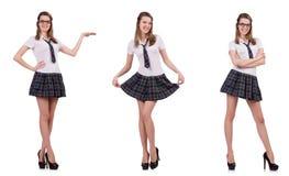 La tenencia femenina del estudiante agradable joven aislada en blanco fotos de archivo libres de regalías