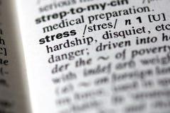 La tensión de palabra en un diccionario Fotos de archivo