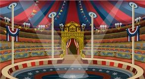 La tente de bannière de carnaval de cirque invitent le vecteur Illustratio de parc à thème Image libre de droits