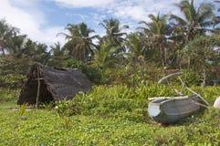La tente des pêcheurs à la plage Photo libre de droits