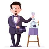 La tenuta del mago ha preparato il coniglio con la carota ed il cappello di magia Illustrazione di vettore di Colorful dell'illus Immagini Stock