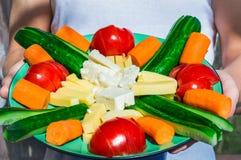 La tenuta dell'uomo in piatto delle mani con le verdure e Fotografia Stock Libera da Diritti
