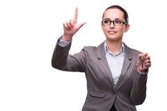 La tenuta della donna digita il concetto del bene immobile Immagini Stock