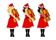 La tenuta di Santa Girl Blonde Brown Black presenta il mucchio Fotografia Stock
