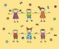 La tenuta felice dei bambini si arma Immagine Stock Libera da Diritti