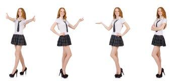 La tenuta femminile del giovane studente isolata su bianco Fotografie Stock