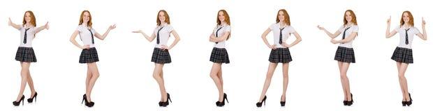 La tenuta femminile del giovane studente isolata su bianco Fotografia Stock