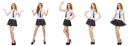 La tenuta femminile del giovane studente isolata su bianco Immagine Stock