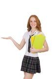 La tenuta femminile del giovane studente isolata su bianco Immagini Stock Libere da Diritti