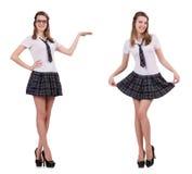 La tenuta femminile del giovane studente piacevole isolata su bianco Immagine Stock