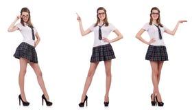 La tenuta femminile del giovane studente piacevole isolata su bianco Immagine Stock Libera da Diritti