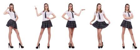 La tenuta femminile del giovane studente piacevole isolata su bianco Immagini Stock Libere da Diritti