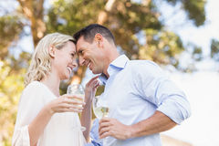 La tenuta sorridente delle coppie wine ed esaminando intensivamente a vicenda Fotografie Stock Libere da Diritti