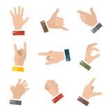 La tenuta vuota delle mani protegge dare le icone di gesti messe isolate su bianco royalty illustrazione gratis