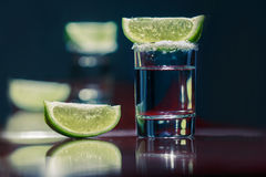 La tequila con calce Fotografia Stock Libera da Diritti