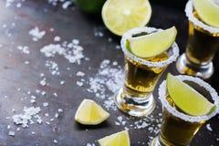 La tequila mexicaine d'or a tiré avec la chaux et le sel verts image stock