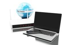 la terra 3d con il router si è collegata ai dispositivi della tecnologia Immagine Stock Libera da Diritti