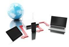 la terra 3d con il router si è collegata ai dispositivi della tecnologia Immagini Stock
