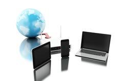 la terra 3d con il router si è collegata ai dispositivi della tecnologia Fotografia Stock