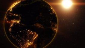 la terra 3D delle luci d'abbaglio dorate fa segno alla porta di fantascienza di Background3D al fondo dorato di moto della terra stock footage