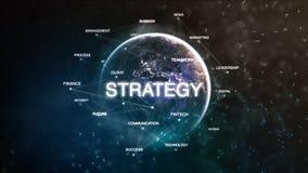 La terra della tecnologia dalla parola dello spazio ha messo con strategia a fuoco Illustrazione orientata finanziaria futuristic Fotografie Stock