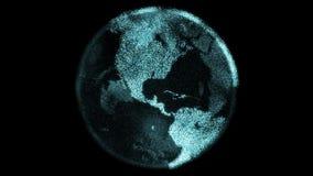 La terra digitale della particella futuristica fila con i continenti luminosi fatti dai pixel royalty illustrazione gratis