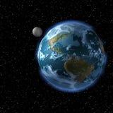 La terra e la luna dallo SP Fotografie Stock Libere da Diritti