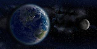 La terra e la luna da spazio su un contesto del giacimento di stella illustrazione vettoriale