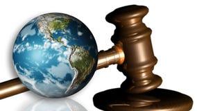 La terra e un martelletto. Concetto di giustizia illustrazione vettoriale