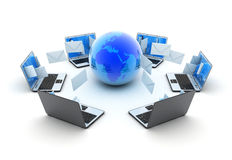 La terra ed i computer portatili astratti inviano la posta Immagine Stock