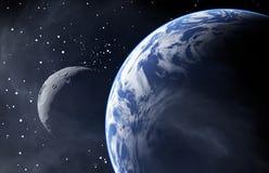 La terra gradisce il pianeta con una luna Immagini Stock Libere da Diritti