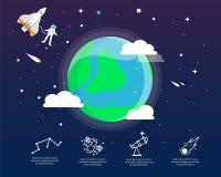 La terra infographic nel concetto dell'universo Fotografia Stock