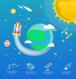 La terra infographic nel concetto dell'universo Immagini Stock