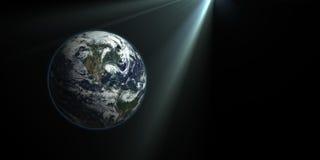 La terra nei raggi di luce illustrazione vettoriale