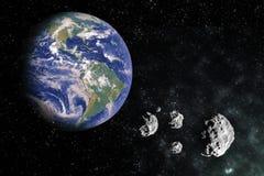 La terra nello scape con la meteorite oscilla i pezzi della luna illustrazione vettoriale
