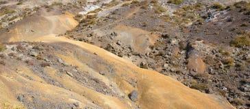 La terra pietrosa con le isole dell'erba bruciata sul Madera Immagini Stock Libere da Diritti