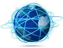 La terra in un Web della rete, Internet ha isolato il bianco Fotografie Stock