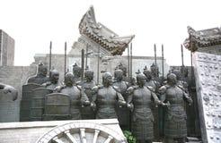 La terracotta scolpisce la descrizione degli eserciti di Qin Shi Huang, il primo imperatore della Cina fotografia stock