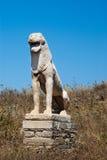 La terrasse antique des lions à l'île de Delos photographie stock libre de droits