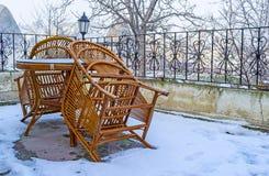 La terrasse bloquée par la neige Photographie stock