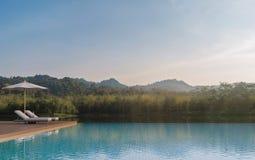 La terrasse de piscine et la belle nature regardent l'image du rendu 3d Images stock