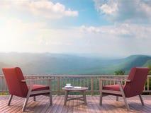 La terraza contemporánea con el Mountain View 3d rinde Imagenes de archivo