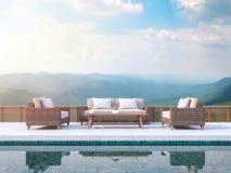 La terraza contemporánea de la piscina con el Mountain View 3d rinde Ilustración del Vector