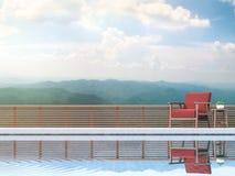 La terraza contemporánea de la piscina con el Mountain View 3d rinde Suministrado con la silla roja de la tela Fotos de archivo libres de regalías