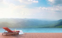 La terraza de la piscina con el Mountain View 3d rinde Fotografía de archivo libre de regalías