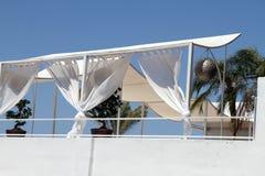 La terraza enfría hacia fuera la barra Javea Alicante España Fotografía de archivo libre de regalías
