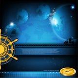 La terre à l'arrière-plan de ciel nocturne avec la roue et la boussole d'or de bateau Photo stock