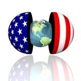 la terre 3d dans les hémisphères avec nous Photo stock
