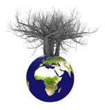 la terre 3d et arbre image libre de droits